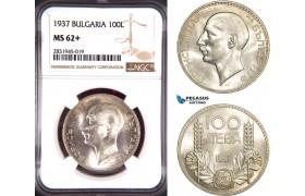AD427, Bulgaria, Boris III, 100 Leva 1937, Silver, NGC MS62+
