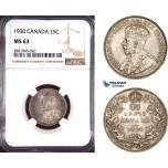 AD428, Canada, George V, 25 Cents 1930, Silver, NGC MS63