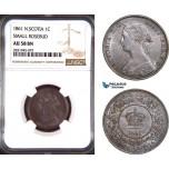 AD429, Canada, Nova Scotia, 1 Cent 1861 (Small Rosebud) NGC AU58BN