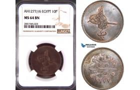 AD434, Ottoman Empire, Egypt, Abdulaziz, 10 Para AH1277/6, Misr, NGC MS64BN