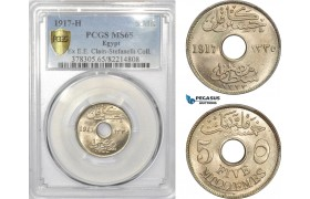 AD435, Egypt, Occupation Coinage, 5 Milliemes AH1335/1917-H, Heaton, PCGS MS65