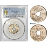AD436, Egypt, Occupation Coinage, 5 Milliemes AH1335/1917-H, Heaton, PCGS MS65