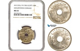 AD437, Egypt, Occupation Coinage, 10 Milliemes AH1335/1917-KN, Kings Norton, NGC MS65