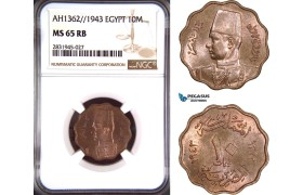 AD438, Egypt, Farouk, 10 Milliemes AH1362 / 1943, NGC MS65RB, Top Pop
