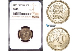 AD439, Estonia, 20 Senti 1935, NGC MS65