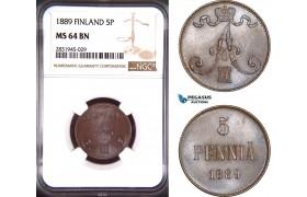 AD440, Finland, Alexander III. of Russia, 5 Penniä 1889, NGC MS64BN