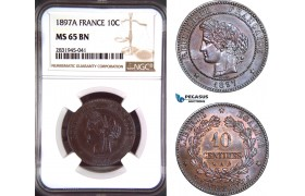 AD451, France, Third Republic, 10 Centimes 1897-A, Paris, NGC MS65BN