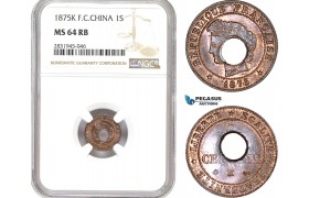 AD456, French Cochin-China, 1 Sapeque 1875-K, Bordeaux, NGC MS64RB