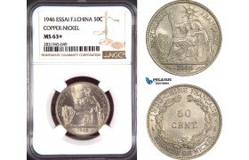 AD459, French Indo-China, ESSAI 50 Centimes 1946, Paris, NGC MS63+