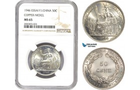 AD461, French Indo-China, ESSAI 50 Centimes 1946, Paris, NGC MS65