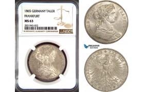AD462, Germany, Frankfurt, 1 Vereinstaler 1865, Silver, NGC MS63