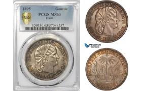 AD464, Haiti, Gourde 1895, Paris, Silver, PCGS MS63, Pop 1/0, Rare!