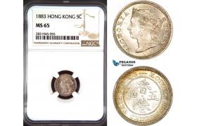 AD465, Hong Kong, Victoria, 5 Cents 1883, Silver, NGC MS65