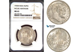AD466, India (British) Edward VII, 1 Rupee 1903-B (Incuse) Bombay, Silver, NGC MS63
