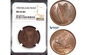 AD467, Ireland, 1 Penny 1928, NGC MS65BN