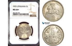 AD470, Lithuania, 5 Litai 1925, Silver, NGC MS64+
