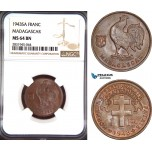 AD471, Madagascar, 1 Franc 1943-SA, NGC MS64BN