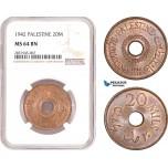 AD473, Palestine, 20 Mils 1942, London, NGC MS64BN, Pop 2/2