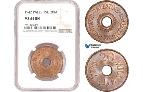 AD473, Palestine, 20 Mils 1942, London, NGC MS64BN, Pop 2/2