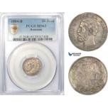 AD478, Romania, Carol I, 50 Bani 1884-B, Bucharest, Silver, PCGS MS63