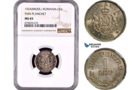 AD479, Romania, Ferdinand, 1 Leu 1924 (Thunderbolt) Poissy, Thin Planchet, NGC MS65 (Slab error as Brussels)
