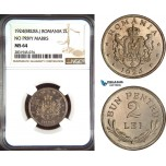AD480, Romania, Ferdinand, 2 Lei 1924, Brussels, NGC MS64