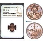 AD486, Russia, Nicholas II, 1/2 Kopek 1900, St. Petersburg, NGC MS64RB