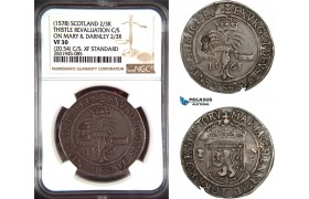 AD488, Scotland, James VI, 2/3 Ryal 1578, Thistle Revaluation C/S on Mary & Darnley 1565, Silver (20.54g) NGC VF30 / XF Standard