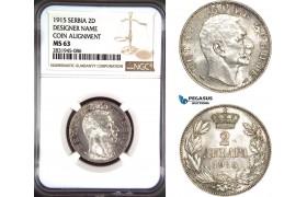 AD489, Serbia, Petar I, 2 Dinara 1915, Paris, Silver, Coin Alignment, NGC MS63
