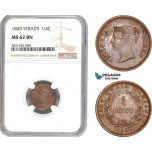 AD491, Straits Settlements, Victoria, 1/4 Cent 1845, NGC MS62BN