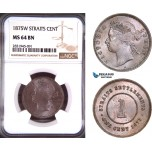 AD493, Straits Settlements, Victoria, 1 Cent 1875-W, NGC MS64BN