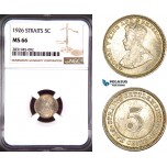 AD494, Straits Settlements, George V, 5 Cents 1926, Bombay, Silver, NGC MS66