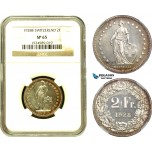 AD496, Switzerland, 2 Francs 1928-B, Bern, Silver, NGC SP65