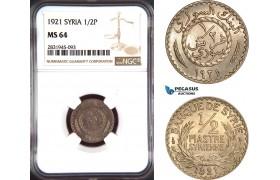 AD497, Syria, 1/2 Piastre 1921, Paris, NGC MS64