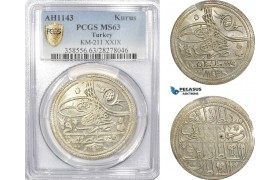 AD498, Ottoman Empire, Turkey, Mahmud I, Kurus AH1143, Kostantiniye (Istanbul) PCGS MS63