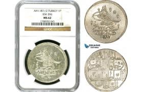 AD499, Ottoman Empire, Turkey, Abdülhamid I, Piastre AH1187/2, Qustantiniye (Istanbul) NGC MS62