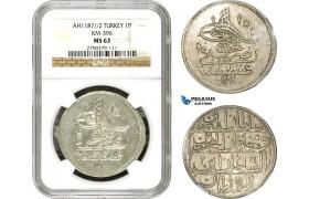 AD500, Ottoman Empire, Turkey, Abdülhamid I, Piastre AH1187/2, Qustantiniye (Istanbul) NGC MS63