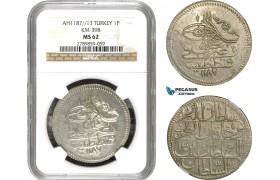 AD501, Ottoman Empire, Turkey, Abdülhamid I, Piastre AH1187/13, Qustantiniye (Istanbul) NGC MS62