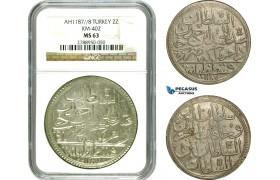 AD502, Ottoman Empire, Turkey, Abdülhamid I, 2 Zolota AH1187/8, Islambul (Istanbul) NGC MS63