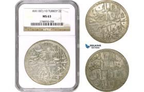 AD503, Ottoman Empire, Turkey, Abdülhamid I, 2 Zolota AH1187/10, Islambul (Istanbul) NGC MS63