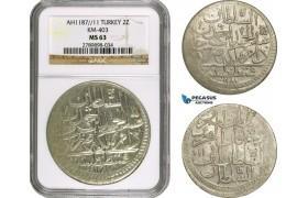 AD504, Ottoman Empire, Turkey, Abdülhamid I, 2 Zolota AH1187/11, Islambul (Istanbul) NGC MS63