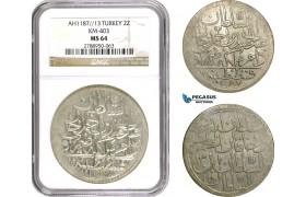 AD505, Ottoman Empire, Turkey, Abdülhamid I, 2 Zolota AH1187/13, Islambul (Istanbul) NGC MS64