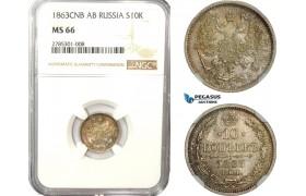 AD522-K, Russia, Alexander II, 10 Kopeks 1863 СПБ-АБ, St. Petersburg, Silver, NGC MS66, Top Pop! Rainbow toning!