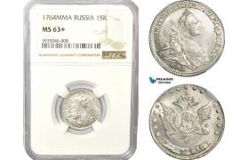 AD525-K, Russia, Catherine II, 15 Kopeks 1764 ММД, Moscow, Silver, NGC MS63+