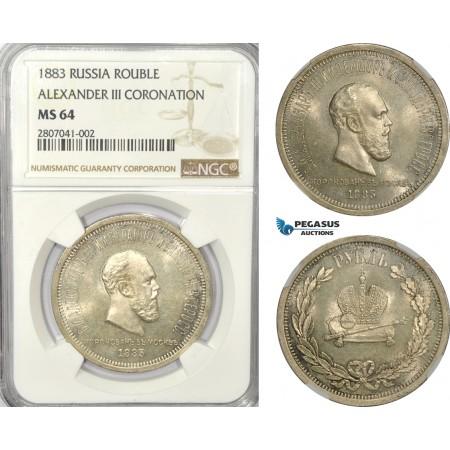 AD543-K, Russia, Alexander III, Rouble 1883 (Coronation) Silver, NGC MS64