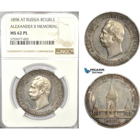 "AD546-K, Russia, Nicholas II, ""Alexander II Memorial"" Rouble 1898 (AГ) St. Petersburg, Silver, NGC MS62PL, Rare!"