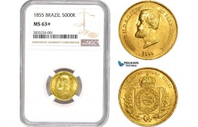 AD549, Brazil, Pedro II, 5000 Reis 1855, Gold, NGC MS63+