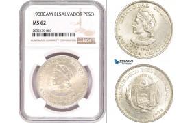 AD555, El Salvador, 1 Peso 1908-CAM, Silver, NGC MS62