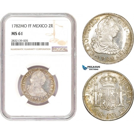 AD556, Mexico, Charles IV, 2 Reales 1782 Mo FF, Mexico City, Silver, NGC MS61