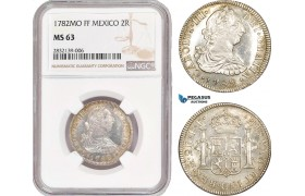 AD557, Mexico, Charles IV, 2 Reales 1782 Mo FF, Mexico City, Silver, NGC MS63